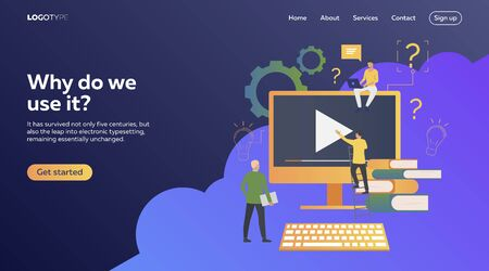 People working on ideas. Flat illustration. Development, optimization, teamwork. Business process and technology concept for banner, website design or landing web page Ilustracja
