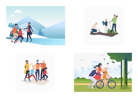 Set of parents and children spending time together outdoors. Flat vector illustrations of families spending weekends. Relations concept for banner, website design, landing web page