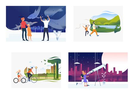 Set of parents and children spending time together. Flat vector illustrations of families spending weekends. Relations concept for banner, website design, landing web page