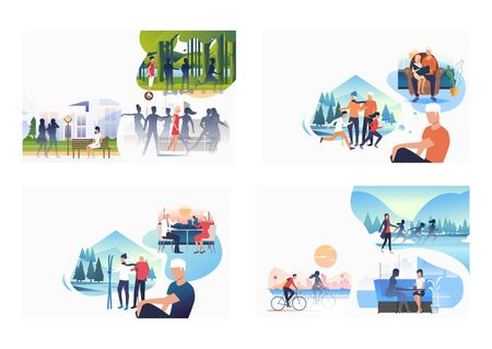 Set of people dreaming about family and friends. Flat vector illustrations of lonely people. Loneliness concept for banner, website design or landing web page Ilustrace