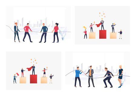 Insieme di premi vincitori di lavoratori. Illustrazioni vettoriali piatte di colleghi gratificanti. Concetto di lavoro di squadra per banner, design di siti Web o pagine Web di destinazione