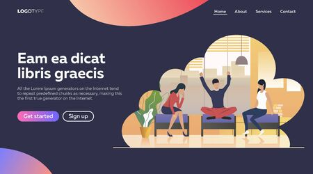 Business people discussing ideas. Vector illustration. Development, optimization teamwork. Business process concept for banner, website design or landing web page Ilustracja
