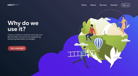 Business people keeping eye on nature. Flat vector illustration. Development, optimization teamwork. Business process and technology concept for banner, website design or landing web page