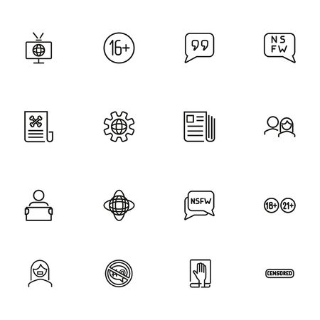Age limit line icon set. TV, newspaper, audience. Censorship concept. Can be used for topics like mass media, global news, censor
