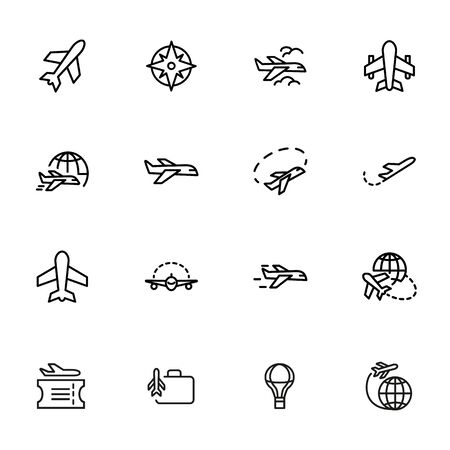 Air travel icon. Set of line icons on white background. World tour, airplane, trip. Airlines concept. Vector illustration can be used for topics like travel, tourism, transportation 版權商用圖片 - 134040855