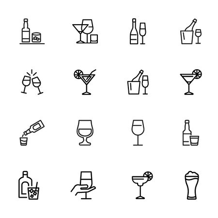 Alcoholic drinks icon. Set of line icons on white background. Martini, toast, whiskey. Beverage concept. Vector illustration can be used for topics like wine menu, bar, drinks Illustration