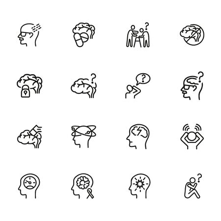 Alzheimer disease line icon set. Brain, bad memory, pills. Health concept. Can be used for topics like mental disorder, senility, symptoms
