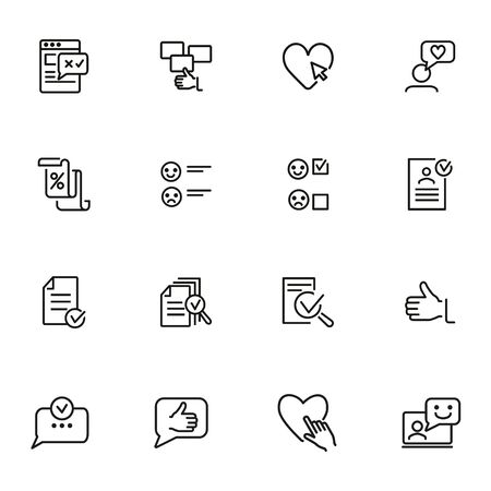 Approving line icon set. Like, document, emoticon. Customer satisfaction concept. Can be used for topics like feedback, rating, results