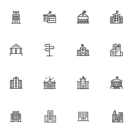 City infrastructure line icon set. School, government, courthouse, hospital, road sign. Urban life concept. Can be used for topics like town, big city, architecture Standard-Bild - 134041226