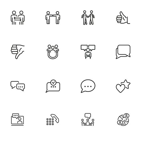 Communication icons. Set of line icons on white background. Dialogue, feedback, partnership. Talking concept. Vector illustration can be used for topic like business, networking, communication apps