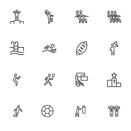 Competition line icon set. Winner, athlete, sportsman, player, team. Sport concept. Can be used for topics like contest, leadership, win