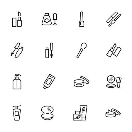 Insieme dell'icona della linea di prodotti per la cura della bellezza. Rossetto, smalto per unghie, crema, mascara. Concetto di cosmetologia. Può essere utilizzato per argomenti come trucco, estetista, cosmetici