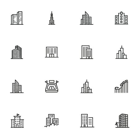 Big city line icon set. Building, skyscraper, stadium, amusement park. Urban life concept. Can be used for topics like downtown, architecture, town Standard-Bild - 134041304