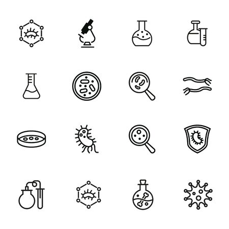 Biological laboratory line icon set. Set of line icons on white background. Science concept. Laboratory, flask, lens. Vector illustration can be used for topics like biology, investigation, study Ilustrace