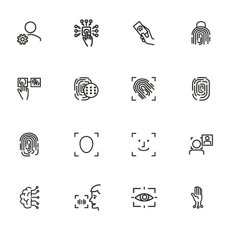 Bio-metrical techologies line icon set. Finger, security, data protection. Safety concept. Vector illustration can be used for topics like system, computer, access
