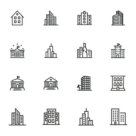 Buildings icons. Set of line icons on white background. Hospital, town house, museum, hotel. City concept. Vector illustration can be used for topics like urban life, architecture, construction Ilustrace