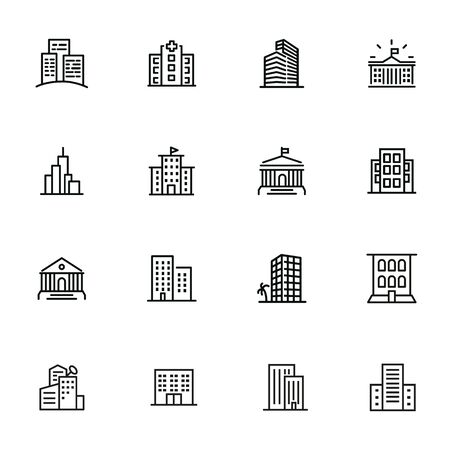 Buildings line icon set. Bank, school, courthouse, university, library. Architecture concept. Can be used for topics like office, city, real estate Standard-Bild - 134041348