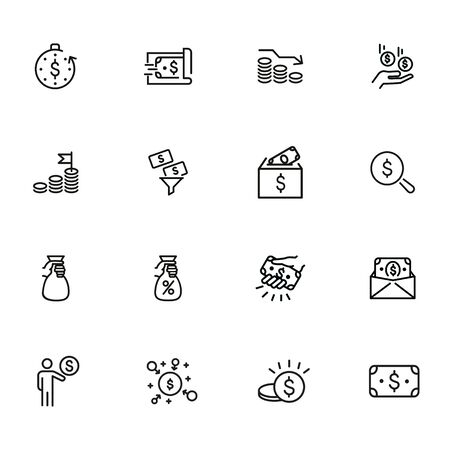 Busy earning line icon set. Money, cash, business. Sales concept. Can be used for topics like finance, investment, banking Vektoros illusztráció