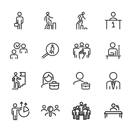 Career line icon set. Set of line icons on white background. First place, candidate, team. Career concept. Vector illustration can be used for topics like job, hiring process Illustration