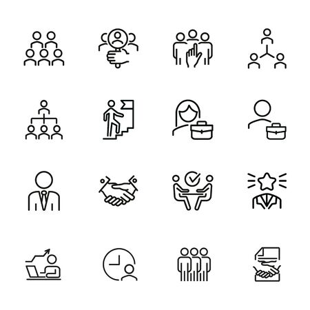 Career promotion line icon set. Candidate, selection, interview. Human resource concept. Can be used for topics like employment, corporate hierarchy, recruitment Ilustracja