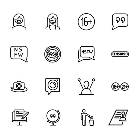 Censorship line icon set. Set of line icons on white background. TV requirement concept. Camera, antenna, stamp. Vector illustration can be used for topics like cinema, TV, radio, social media