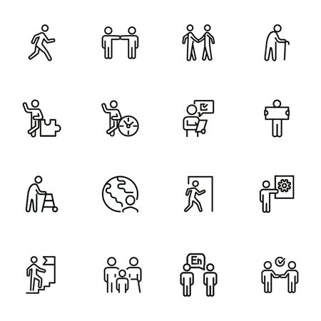 Characters line icon set. Old man, person, world. Sociality concept. Vector illustration can be used for topics like relations, working, communication 版權商用圖片 - 134041426