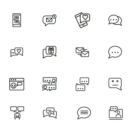 Chat room line icon set. Speech bubbles, technology, texting. Social media concept. Can be used for topics like communication, correspondence, message