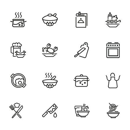 Conjunto de iconos de línea de cocina. Conjunto de iconos de línea sobre fondo blanco. Concepto de utensilios de cocina. Cuchillo, sartén, guisado. La ilustración vectorial se puede utilizar para temas como cocina, comida, cocina. Ilustración de vector