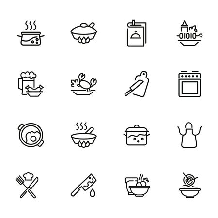 Cooking line icon set. Set of line icons on white background. Kitchenware concept. Knife, frying pan, stewing. Vector illustration can be used for topics like cooking, food, kitchen Ilustração Vetorial