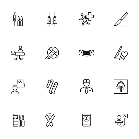 Emergency line icon set. Syringe, surgery, doctor. Medicine concept. Can be used for topics like attack, accident, disease