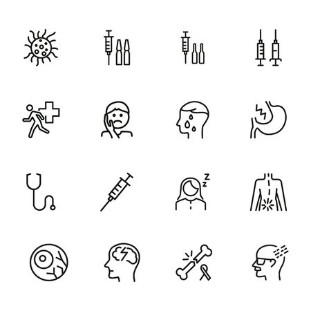 Diseases line icon set. Set of line icons on white background. Healthcare concept. Syringe, injection, bacteria, person, pain. Vector illustration can be used for topics like medicine, health, treatment