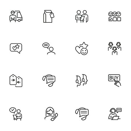 Customer support line icon set. Operator, employee, call center. Service concept. Can be used for topics like online help, shopping, hotline Illustration