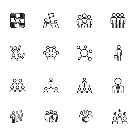 Corporate structure line icon set. Man, team, hierarchy. Business concept. Can be used for topics like management, leadership, teamwork, workflow