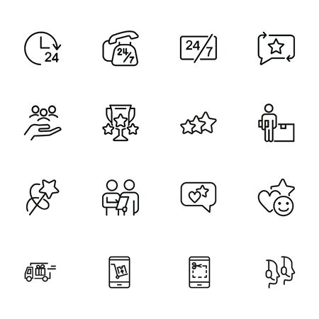 Customer support line icon set. Telephone, courier, order delivery. Service concept. Can be used for topics like feedback, online shopping, rating Illusztráció