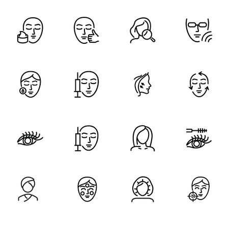 Cosmetology line icon set. Collagen injection, solarium, mascara. Beauty concept. Can be used for topics like dermatology, skin care, aesthetics Archivio Fotografico - 134041793