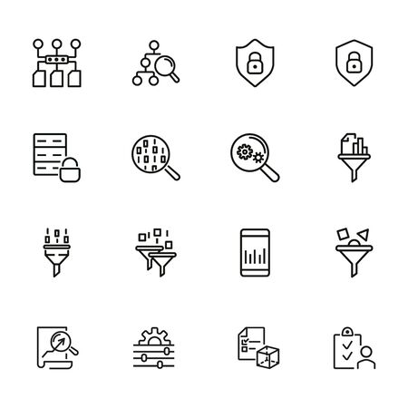 Data management line icon set. Connection, technology, searching. Database concept. Can be used for topics like computer system, optimization, internet security