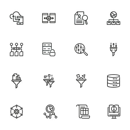 Data management line icon set. Binary code, structure, storage, filter. Information technology concept. Can be used for topics like database, IT project, development