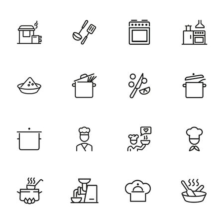 Cooking line icon set. Kitchen appliances, preparing food, chef. Recipe concept. Can be used for topics like kitchen, cooking course, restaurant Illustration