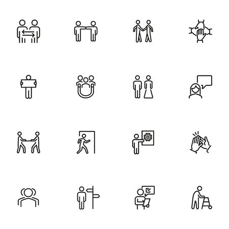 Cooperation line icon set. People, team, partner, family. People connection concept. Can be used for topics like relationship, communication, teamwork Illustration