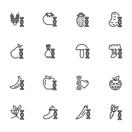 Genetically modified food line icon set. Gene, vegetable, fruit. Food concept. Can be used for topics like biotechnology, agriculture, food industry