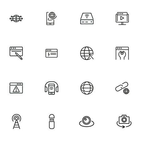 Devices line icon set. Set of line icons on white background. Globe, internet, gadget. Technology concept. Vector illustration can be used for topics like connection, progress