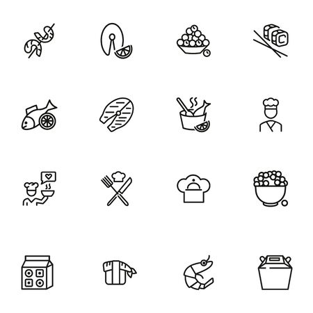 Fish restaurant line icon set. Fish, rice, shrimp. Food concept. Vector illustration can be used for topics like food product, supermarket, restaurant Illustration