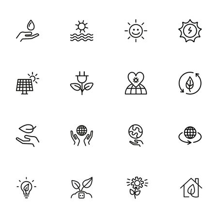 Stationary icon set. Line icons collection on white background. Sun, planet, plant. Environment concept. Can be used for topics like global warming, recycling, solar energy