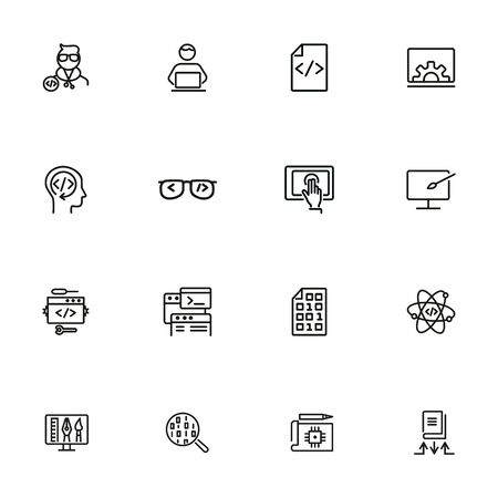 Education line icon set. Set of line icons on white background. Notebook, internet, studying. Self-education concept. Vector illustration can be used for topics like technology, devices, modern life 版權商用圖片 - 134041972