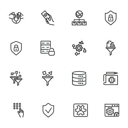 Conjunto de iconos de línea de ingeniería. Conjunto de icono de línea sobre fondo blanco. Concepto de tecnología. Seguridad, combustible, maquina. La ilustración vectorial se puede utilizar para temas como el progreso, la industria. Ilustración de vector