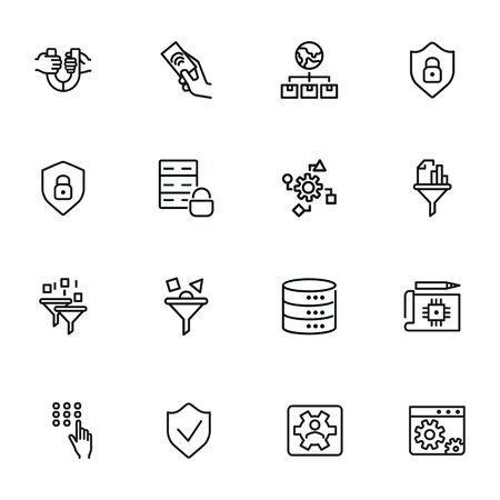 Jeu d'icônes de ligne d'ingénierie. Ensemble d'icône de ligne sur fond blanc. Notion de technologie. Sécurité, carburant, machine. L'illustration vectorielle peut être utilisée pour des sujets tels que le progrès, l'industrie Vecteurs