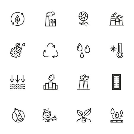 Environment protection line icon set. Factory, recycling, water drops. Ecology concept. Can be used for topics like nature, industrial pollution, global warming