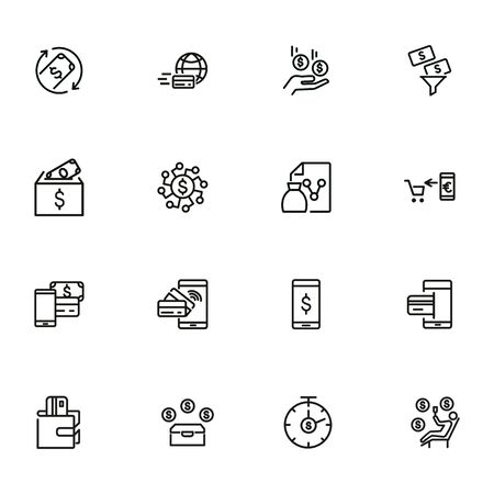 Finance management line icon set. Income, mobile payment, credit card. Business concept. Can be used for topics like banking, budget, spending money Illusztráció