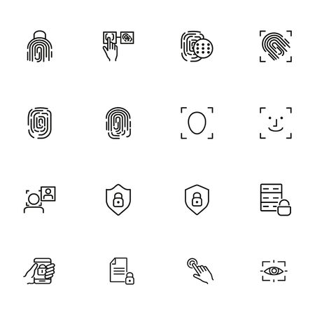 Fingerprint line icon set. Set of line icons on white background. Identification, personality, access. Safety concept. Vector illustration can be used for topics like data safety, program, security