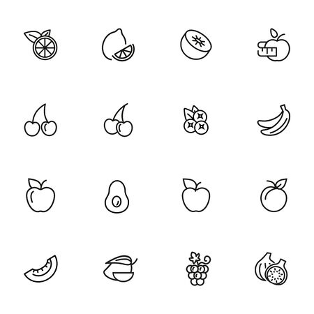 Fruit line icon set. Lemon, apple, cherry. Food concept. Can be used for topics like vegan diet, organic nutrition, health care Ilustracja